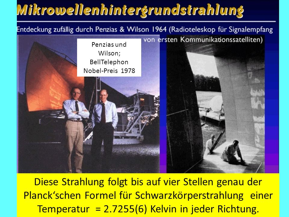 Penzias und Wilson; BellTelephon. Nobel-Preis 1978.