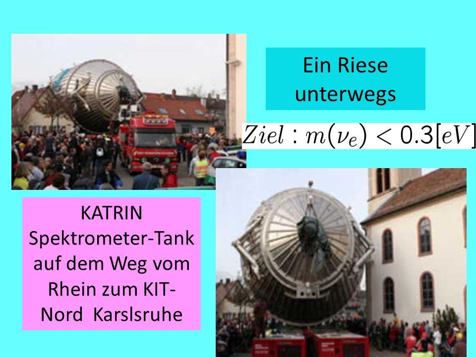 KATRIN Spektrometer-Tank auf dem Weg vom Rhein zum KIT-Nord Karslsruhe