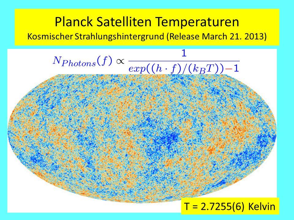 Planck Satelliten Temperaturen Kosmischer Strahlungshintergrund (Release March 21. 2013)