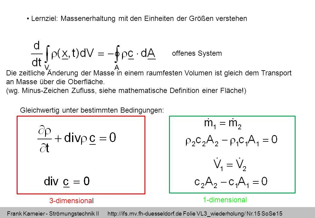 Lernziel: Massenerhaltung mit den Einheiten der Größen verstehen