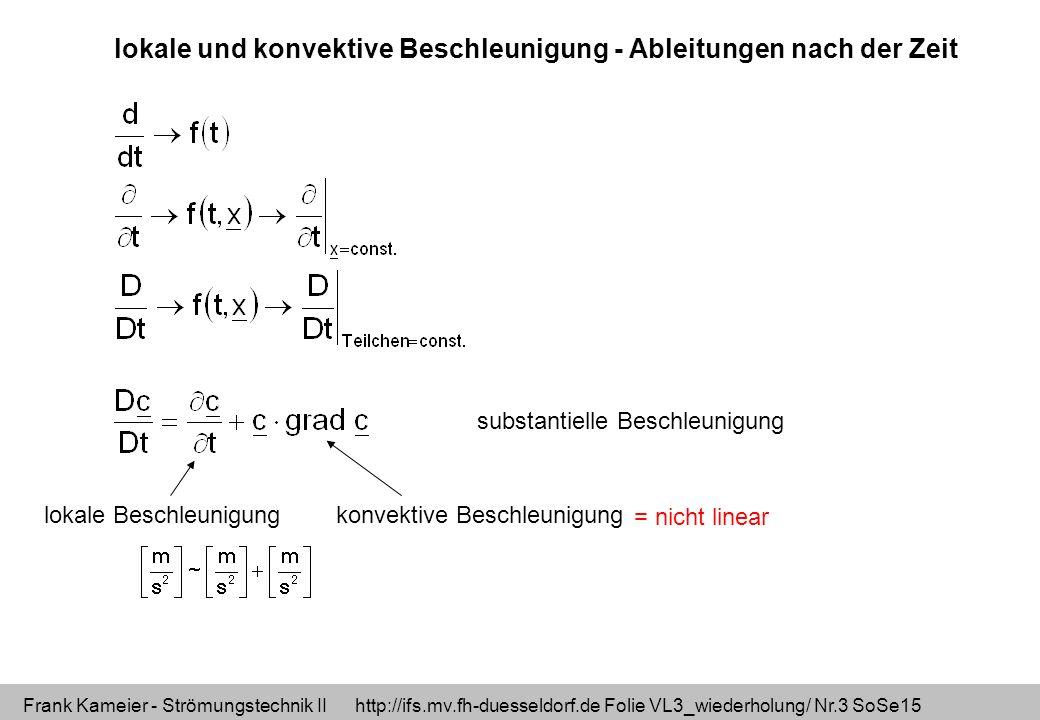lokale und konvektive Beschleunigung - Ableitungen nach der Zeit