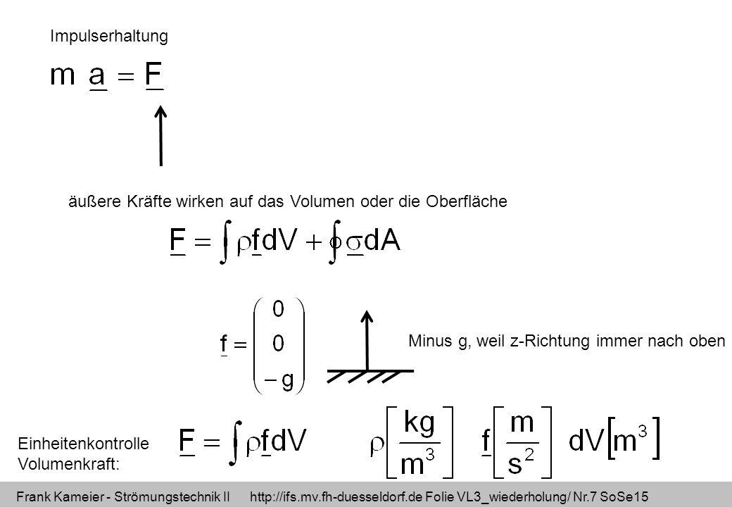 Impulserhaltung äußere Kräfte wirken auf das Volumen oder die Oberfläche. Minus g, weil z-Richtung immer nach oben.