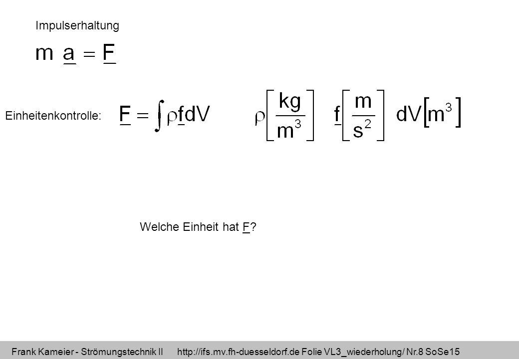 Impulserhaltung Einheitenkontrolle: Welche Einheit hat F