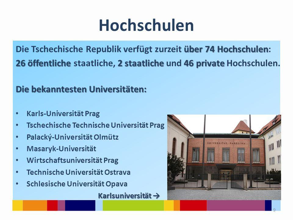 Hochschulen Die Tschechische Republik verfügt zurzeit über 74 Hochschulen: 26 öffentliche staatliche, 2 staatliche und 46 private Hochschulen.