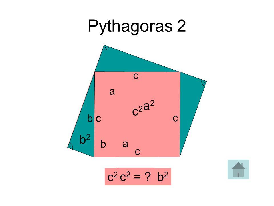 Pythagoras 2 . c . . a a2 c2 b c c b2 b a c c2 = a2 + b2 c2 =