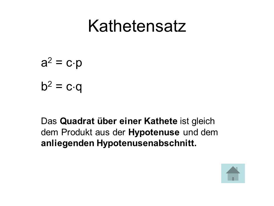 Kathetensatz a2 = cp b2 = cq