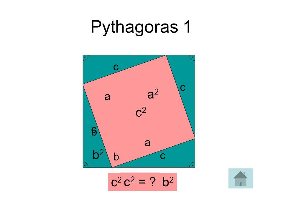 Pythagoras 1 . c . c a2 a c2 . c b a . b2 b c c2 = a2 + b2 c2 =