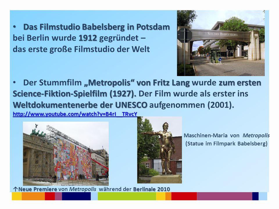 Das Filmstudio Babelsberg in Potsdam bei Berlin wurde 1912 gegründet –