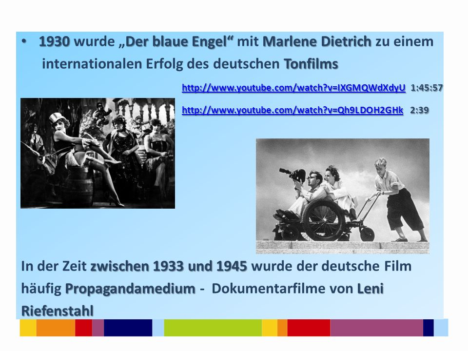 """1930 wurde """"Der blaue Engel mit Marlene Dietrich zu einem"""