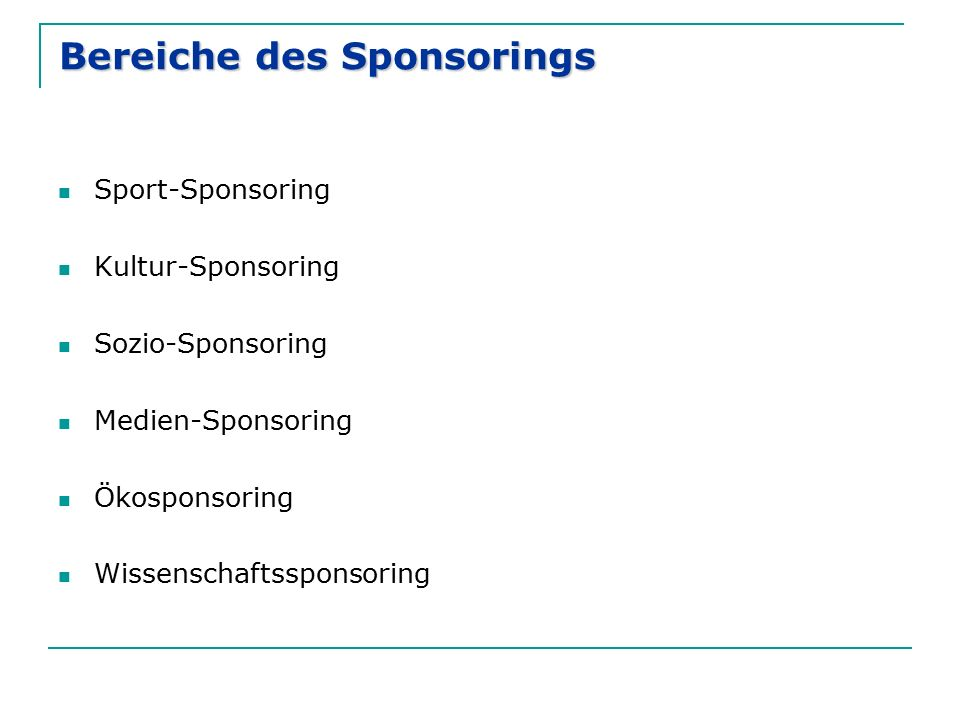 Bereiche des Sponsorings