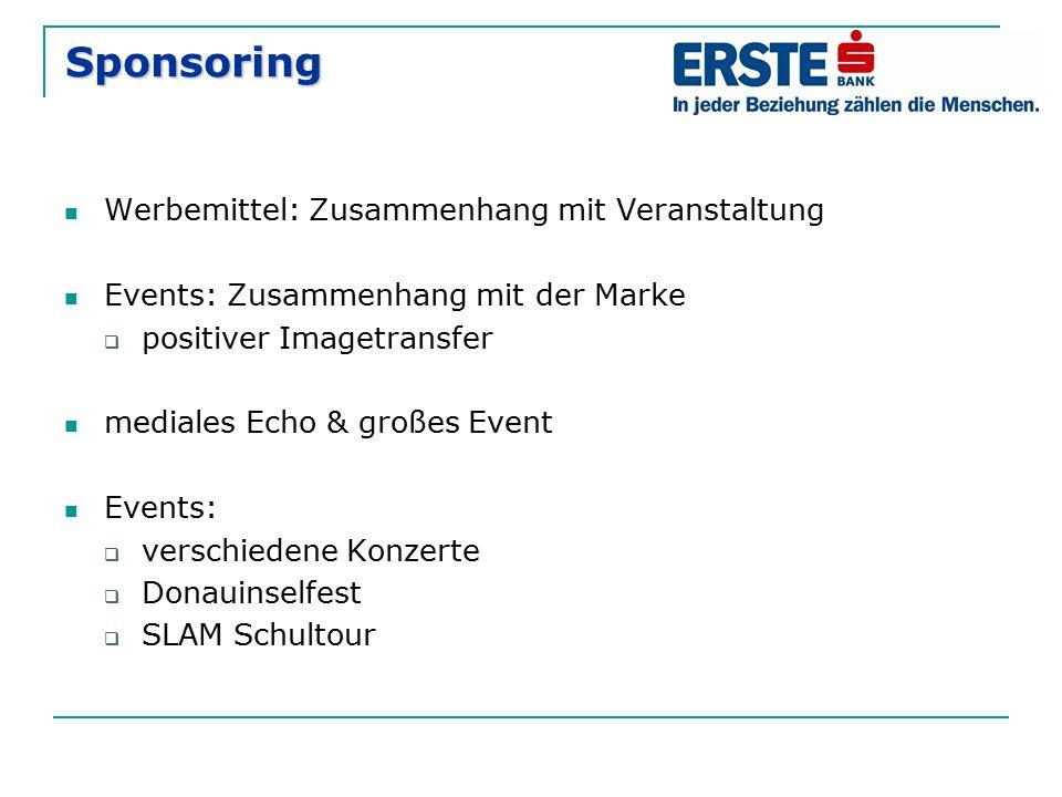 Sponsoring Werbemittel: Zusammenhang mit Veranstaltung