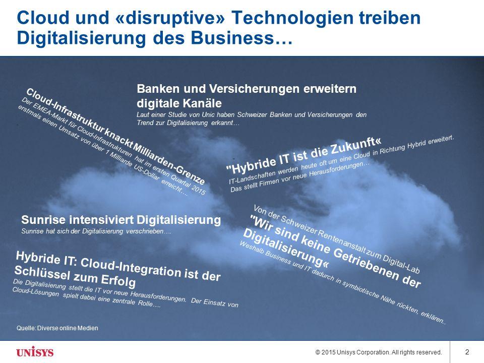 Cloud und «disruptive» Technologien treiben Digitalisierung des Business…