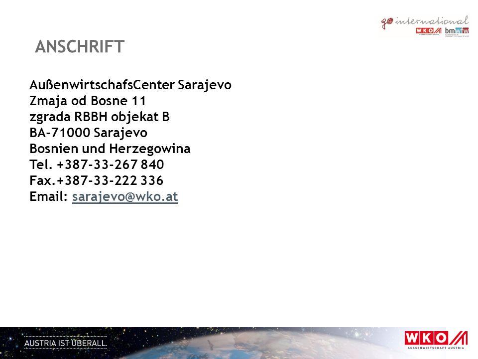 anschrift AußenwirtschafsCenter Sarajevo Zmaja od Bosne 11