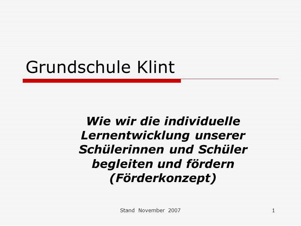 Grundschule Klint Wie wir die individuelle Lernentwicklung unserer Schülerinnen und Schüler begleiten und fördern (Förderkonzept)