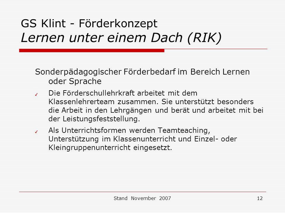 GS Klint - Förderkonzept Lernen unter einem Dach (RIK)