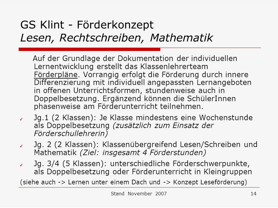GS Klint - Förderkonzept Lesen, Rechtschreiben, Mathematik