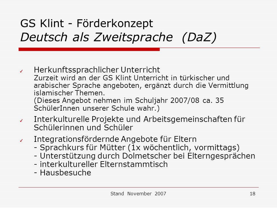 GS Klint - Förderkonzept Deutsch als Zweitsprache (DaZ)