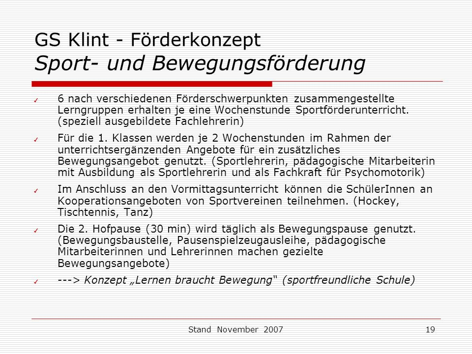 GS Klint - Förderkonzept Sport- und Bewegungsförderung