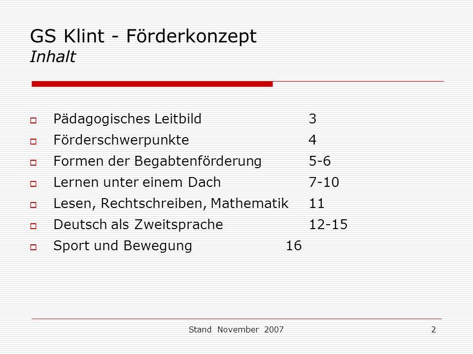 GS Klint - Förderkonzept Inhalt