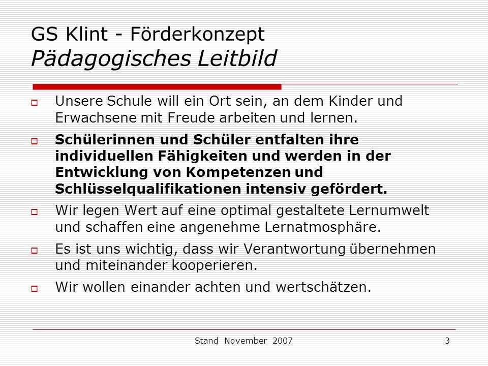 GS Klint - Förderkonzept Pädagogisches Leitbild