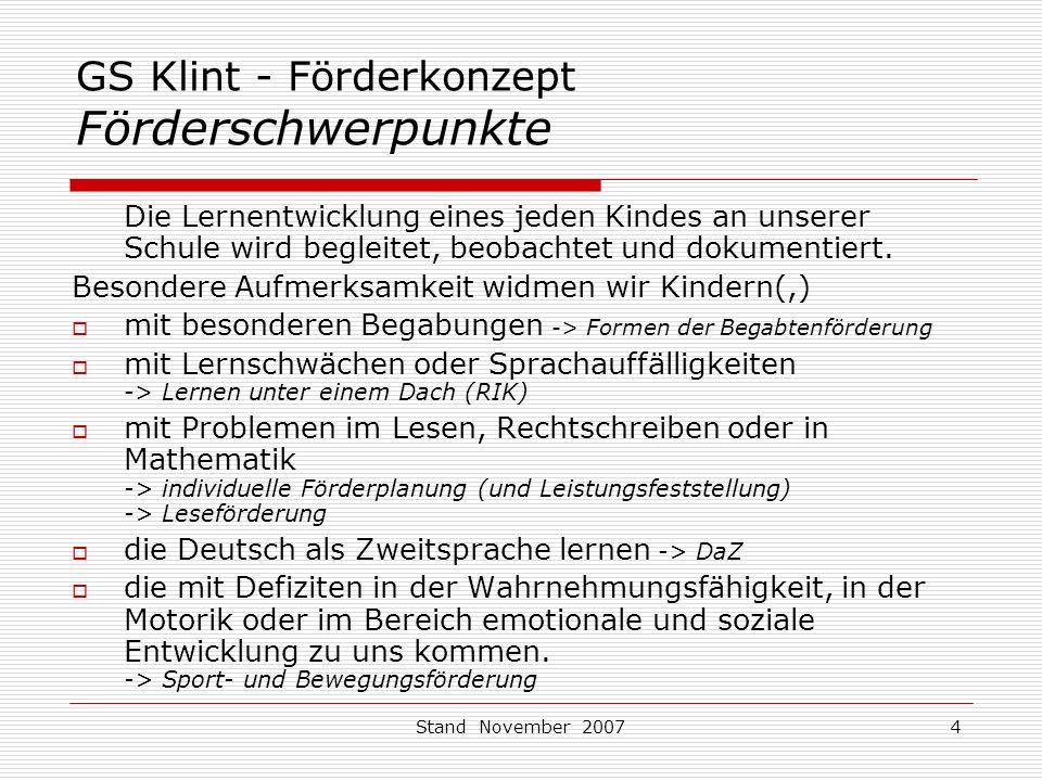 GS Klint - Förderkonzept Förderschwerpunkte