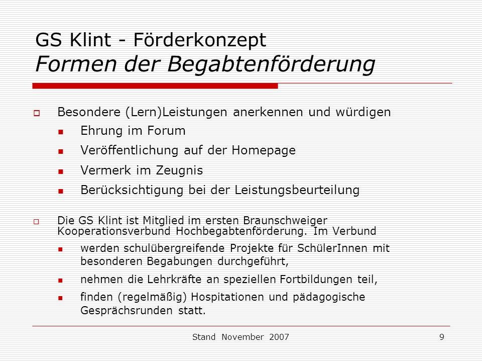GS Klint - Förderkonzept Formen der Begabtenförderung