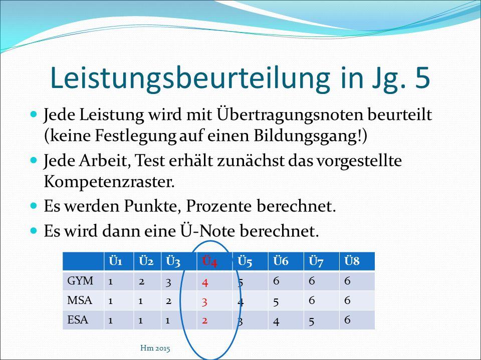 Leistungsbeurteilung in Jg. 5