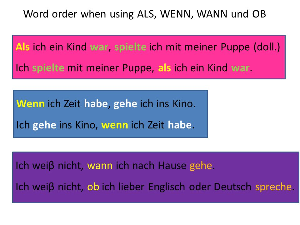 Word order when using ALS, WENN, WANN und OB