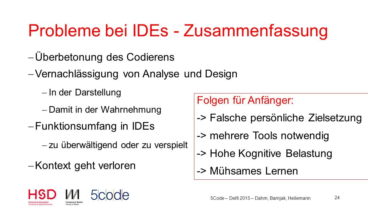 Probleme bei IDEs - Zusammenfassung