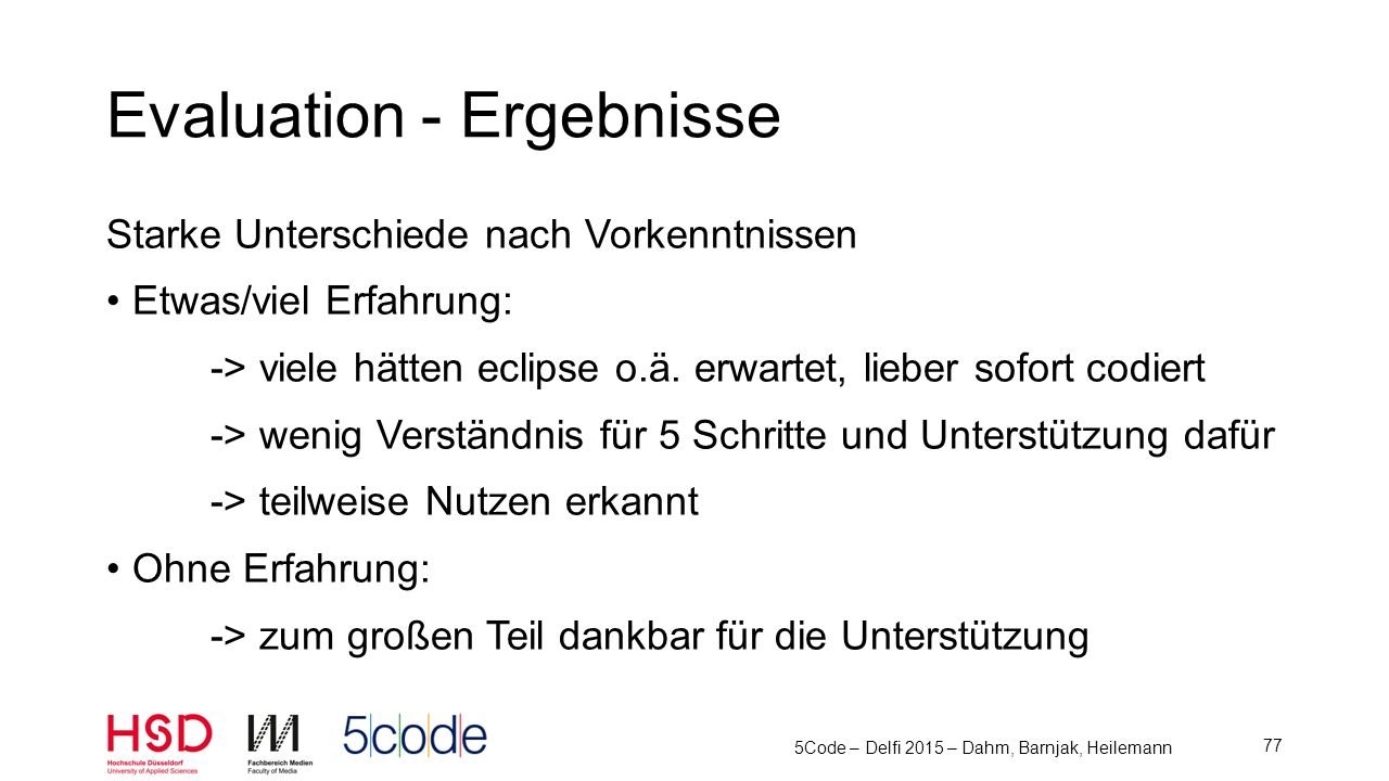 Evaluation - Ergebnisse