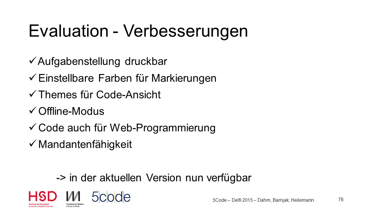 Evaluation - Verbesserungen
