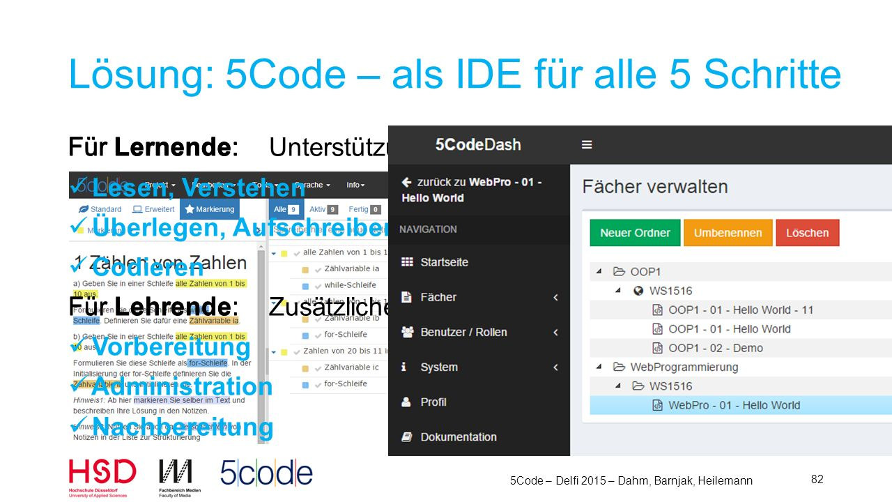 Lösung: 5Code – als IDE für alle 5 Schritte