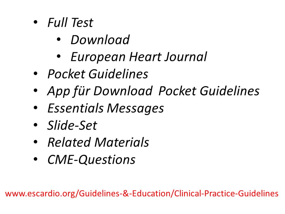 European Heart Journal Pocket Guidelines