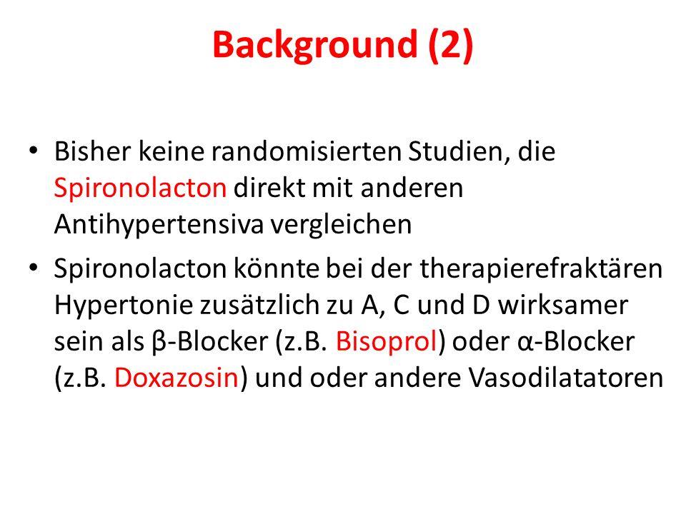 Background (2) Bisher keine randomisierten Studien, die Spironolacton direkt mit anderen Antihypertensiva vergleichen.