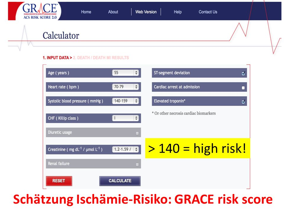 Schätzung Ischämie-Risiko: GRACE risk score