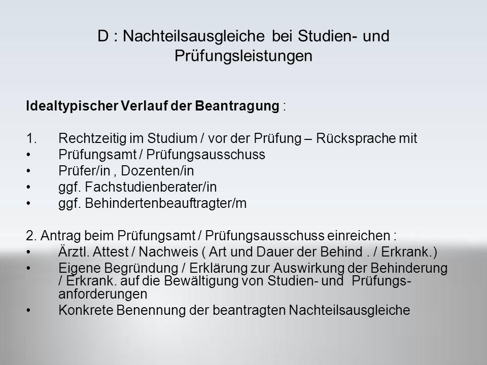 D : Nachteilsausgleiche bei Studien- und Prüfungsleistungen