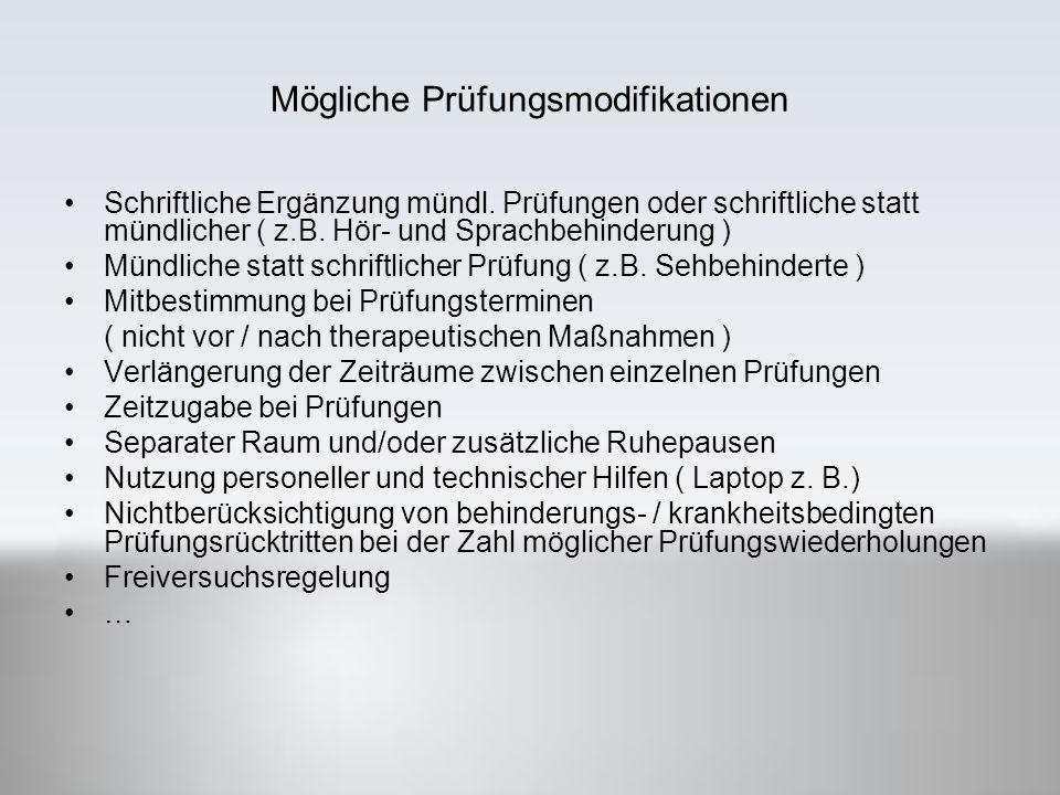 Mögliche Prüfungsmodifikationen