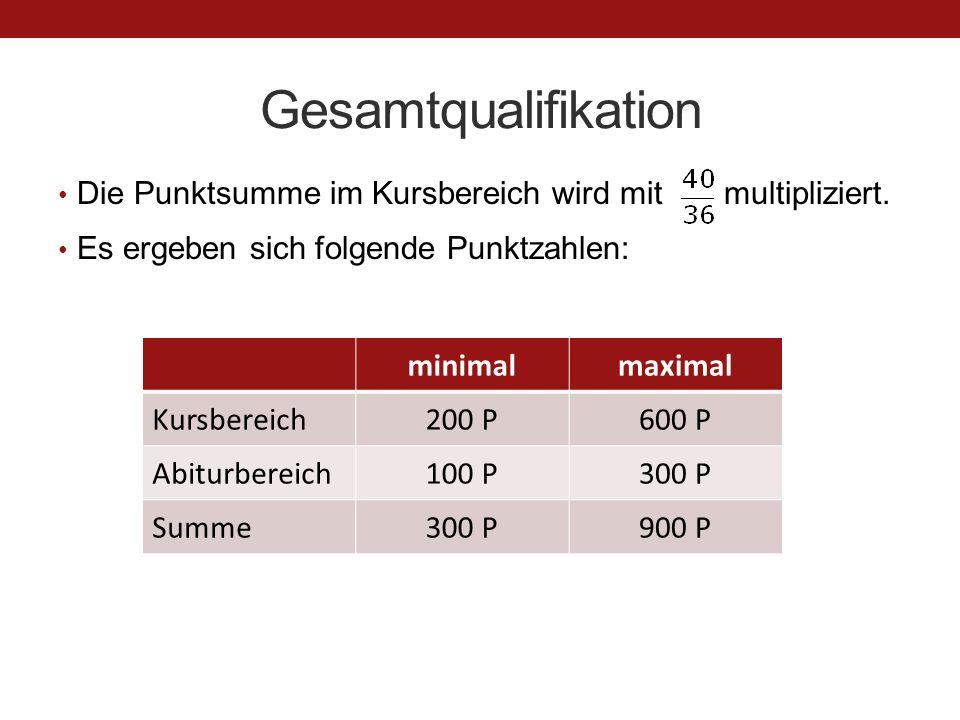Gesamtqualifikation Die Punktsumme im Kursbereich wird mit multipliziert. Es ergeben sich folgende Punktzahlen: