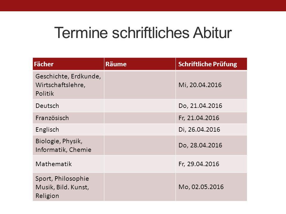 Termine schriftliches Abitur