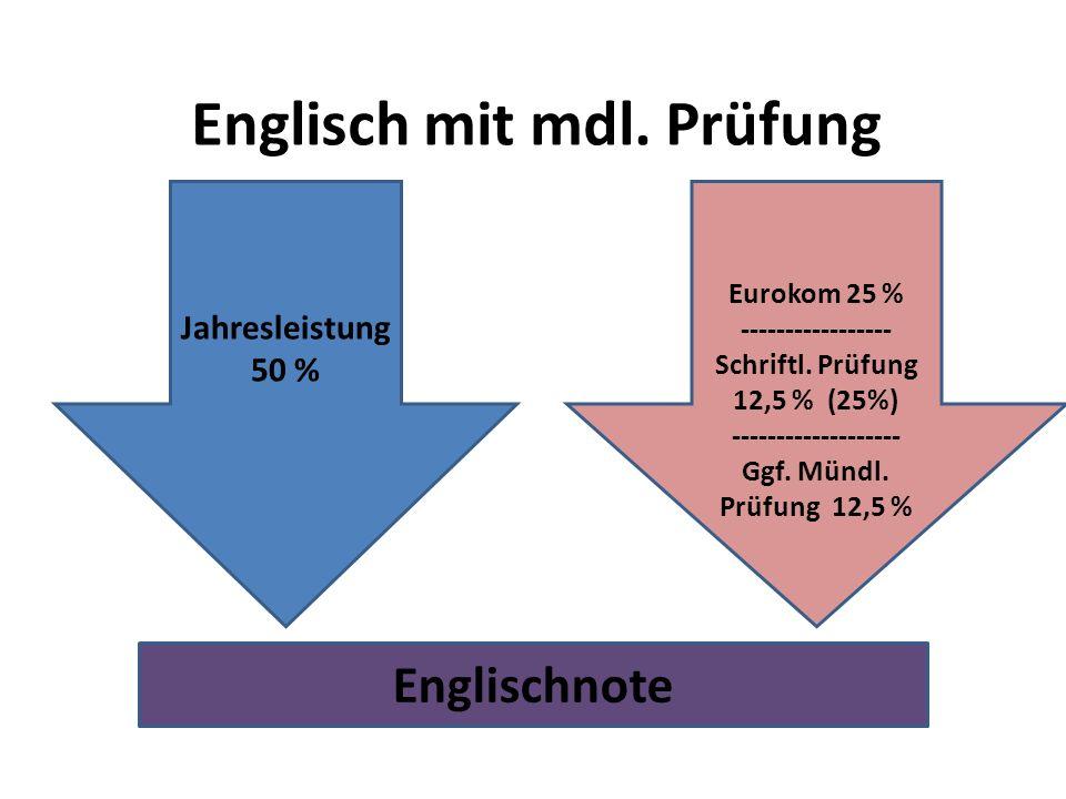 Englisch mit mdl. Prüfung