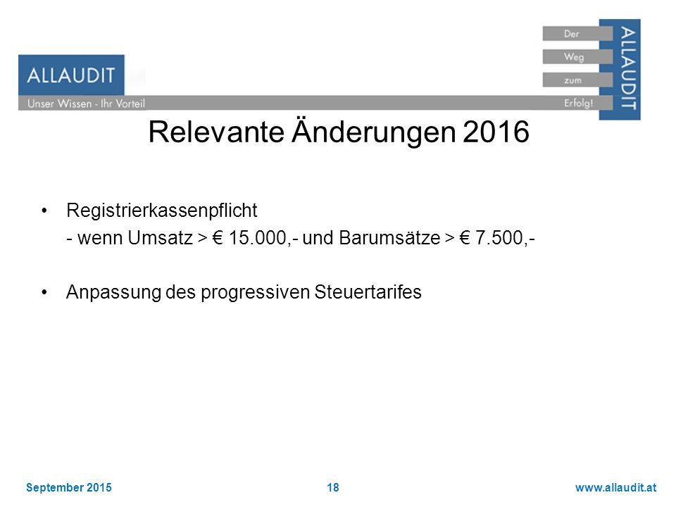 Relevante Änderungen 2016 Registrierkassenpflicht