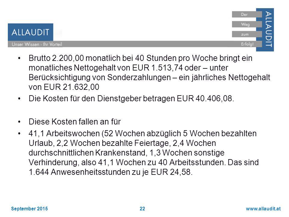 Brutto 2.200,00 monatlich bei 40 Stunden pro Woche bringt ein monatliches Nettogehalt von EUR 1.513,74 oder – unter Berücksichtigung von Sonderzahlungen – ein jährliches Nettogehalt von EUR 21.632,00