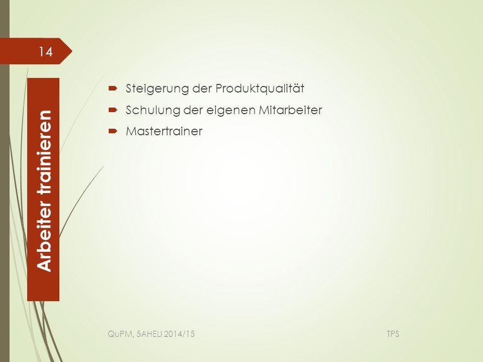 Arbeiter trainieren Steigerung der Produktqualität