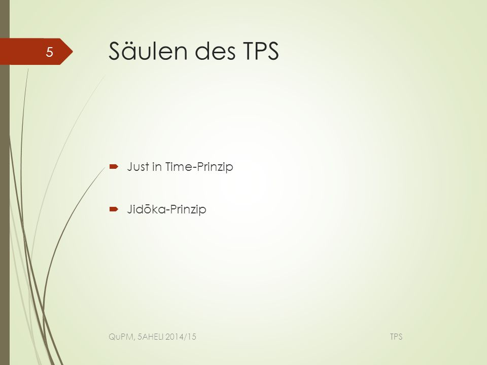 Säulen des TPS Just in Time-Prinzip Jidōka-Prinzip