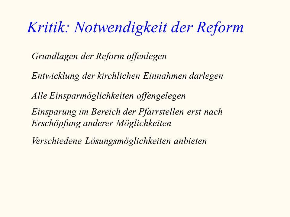 Kritik: Notwendigkeit der Reform