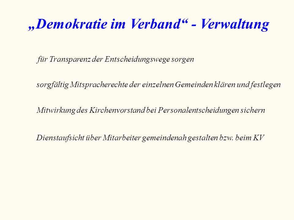 """""""Demokratie im Verband - Verwaltung"""