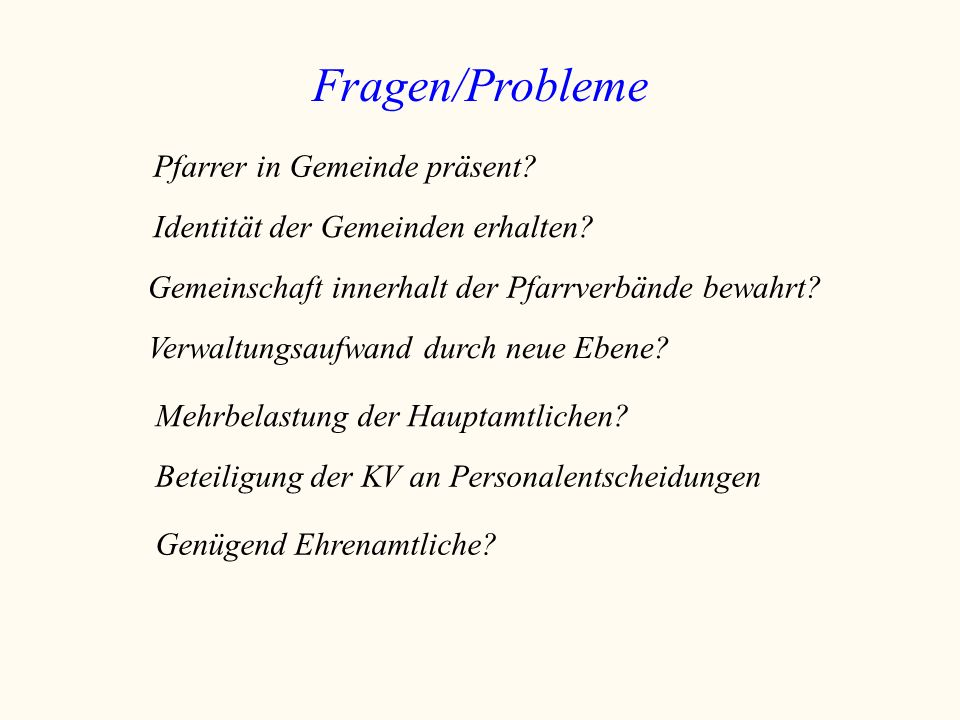 Fragen/Probleme Pfarrer in Gemeinde präsent