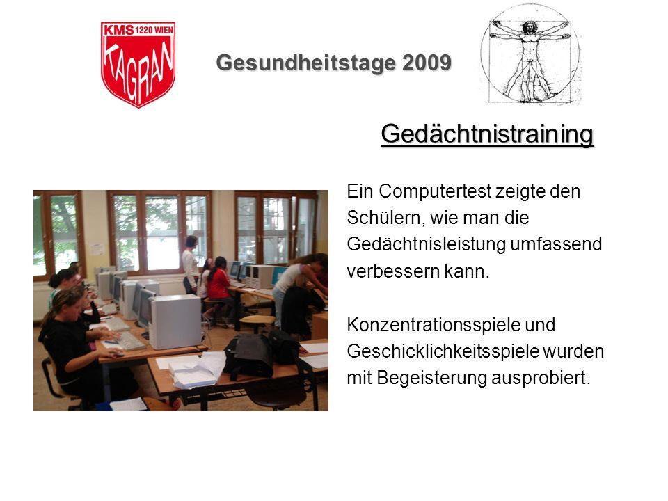 Gedächtnistraining Gesundheitstage 2009 Ein Computertest zeigte den