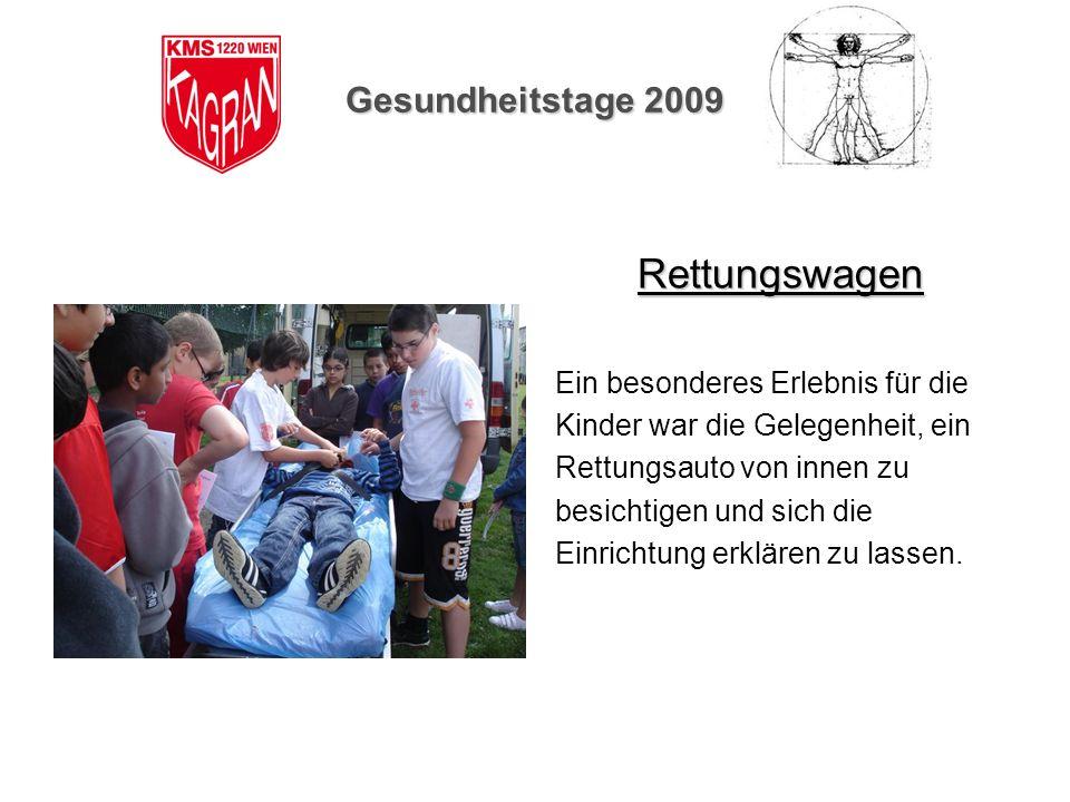 Rettungswagen Gesundheitstage 2009 Ein besonderes Erlebnis für die