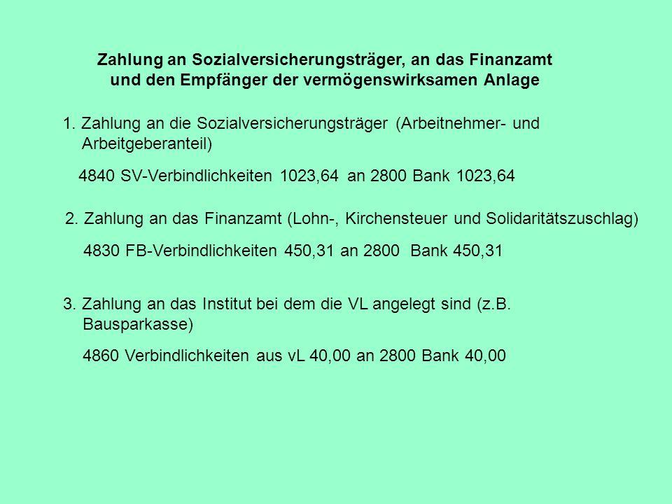 Zahlung an Sozialversicherungsträger, an das Finanzamt und den Empfänger der vermögenswirksamen Anlage
